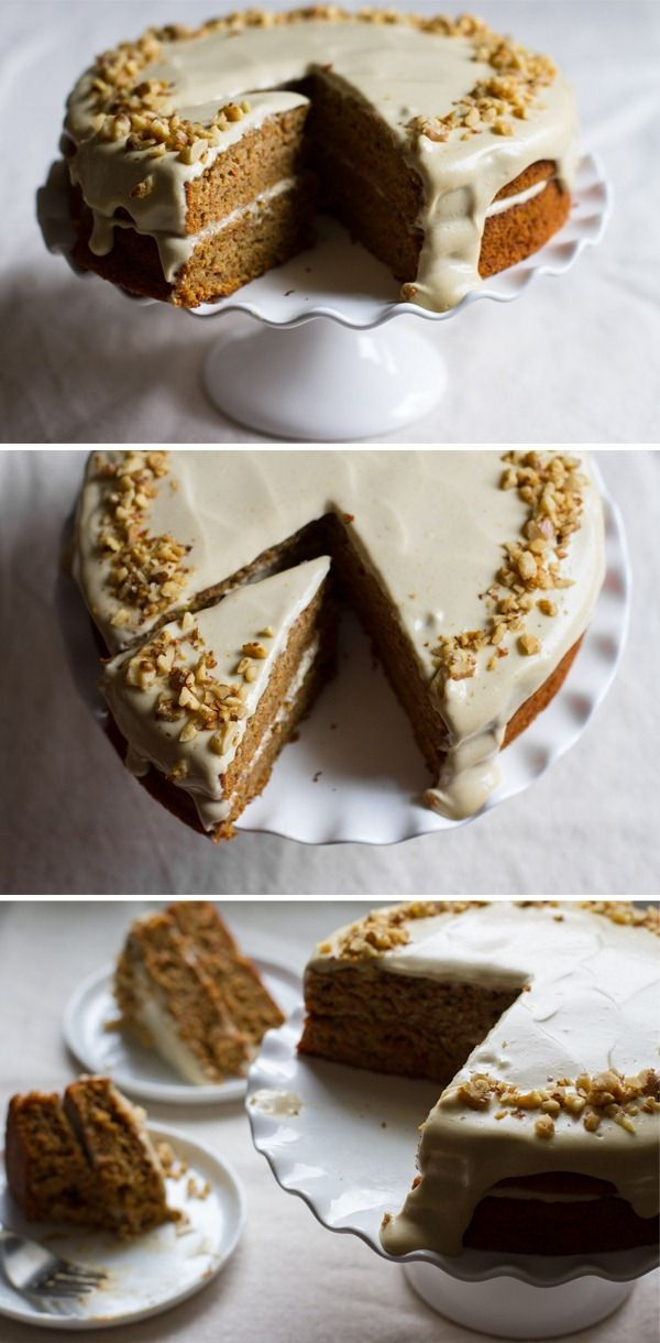 carrot cake with orange maple cashew cream frosting - I'm not a big carrot cake fan but if this was made without eggs I'd be all over it