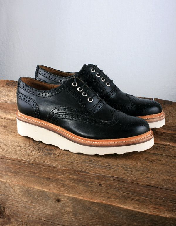 Grenson Women's Emily Brogue Shoe with Vibram Sole - Black Leather 02