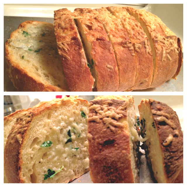 new favorite garlic bread with gorgonzola cheese topped with fresh ...