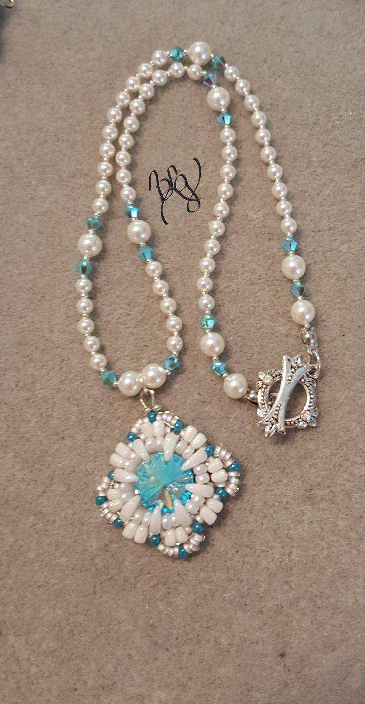 Kathryn... Beaded Swarovski Rivoli, Swarovski pearl necklace.