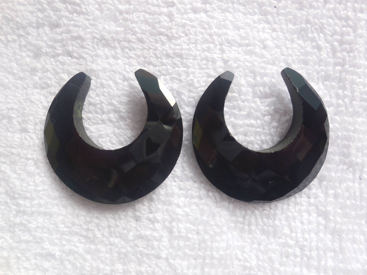 A Pair Black Chalcedony Faceted Half Moon,Chalcedony Gemstone Creacent Moon,Jewelry making Moon Beads by InternationalByBeads on Etsy