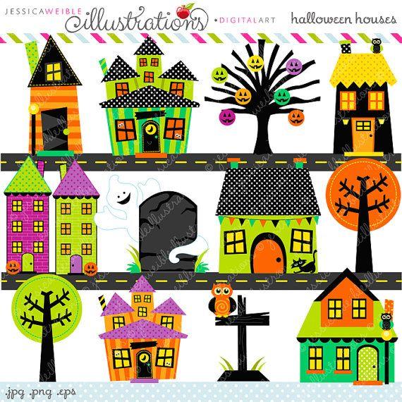 Halloween Houses Cute Digital Clipart - Commercial Use OK - Halloween Clipart, Halloween Graphics, Digital Art