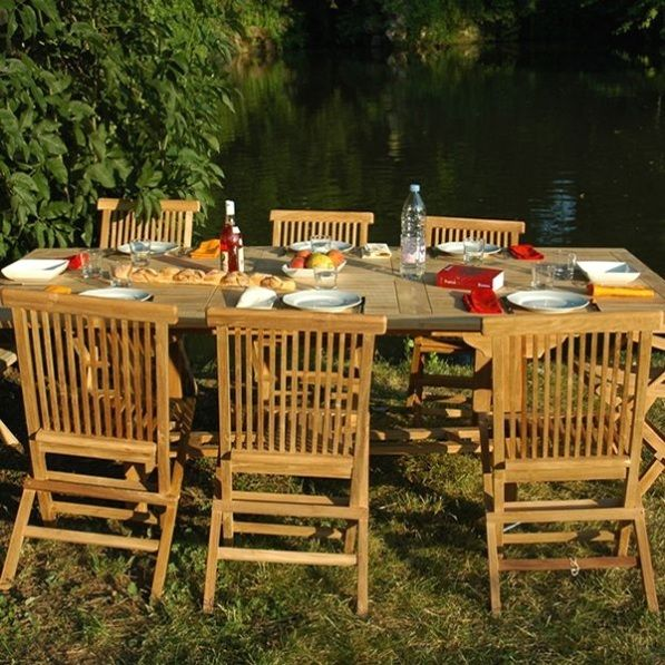 Salon De Jardin St Lucie En Teck 8 Personnes Table X 100 X Cm 6 Chaises 2 Fauteuils En 2020 Salon De Jardin Teck Mobilier Jardin