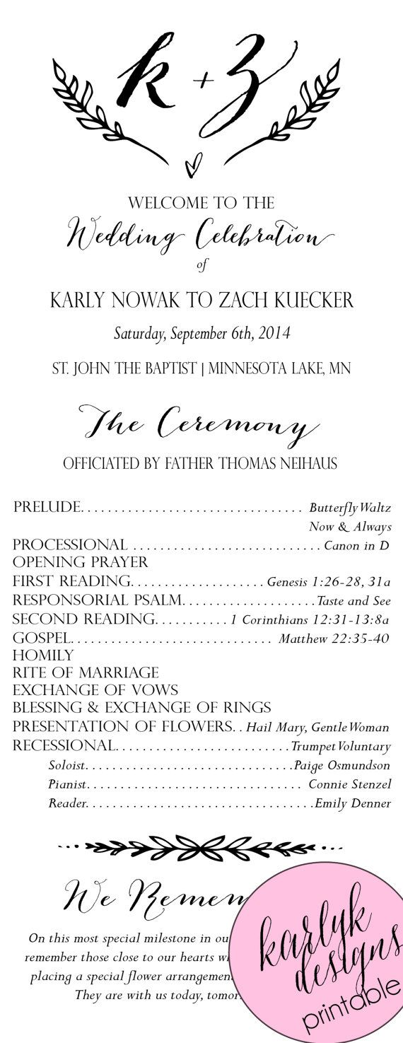 Rustic Wedding Program Template Programs Instant Printable Diy Unique Catholic