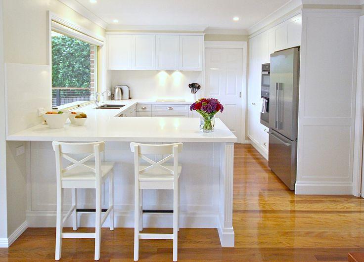 ALL WHITE KITCHEN. #Purewhite #Caesarstone #polyurethanedoors #custom #kitchensbyemanuel #kbecastlhill #waterfallend #white #shaker #detail #seatingarea