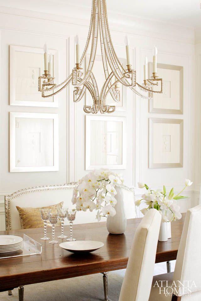 Jewel Chandelier Transitional Dining Room Atlanta Homes Lifestyles