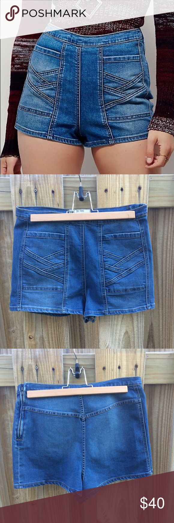 """⬇️💸Free People Radar Love High Rise Short ⬇️💸10% PRICE DROP💸⬇️ NWT amazing Free People Radar Love High Rise Shorts, tagged 29"""" (prob best for M). Medium wash denim with zig-zag pattern on front pockets. Definitely a statement piece. Fabric has some stretch to it, and there is a side zipper on left hip with a hook-eye clasp for snug fit. Never worn & sold out online. #fp #stretch #jean #boho #hotpants #waist -- Approx 29"""" waist/hips, 12"""" length Free People Shorts Jean Shorts"""