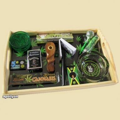 Tray Set Green Weed Leaves de Luxe