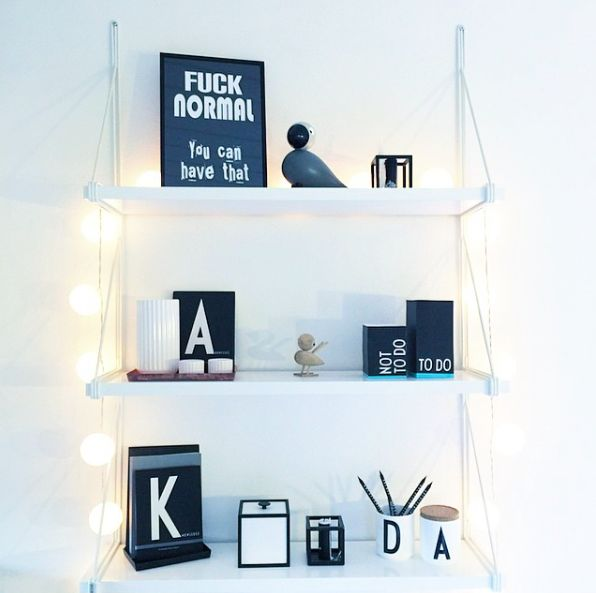 Decor on a shelf. A5 #poster and #String #Light from #Livink