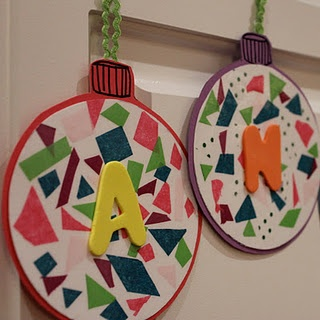 ornaments with tissue paper, contact paper, and foam letters.
