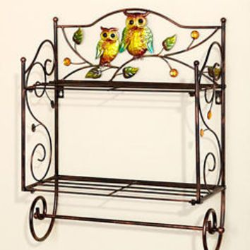 Bronze Scrolled Metal Owl Bathroom Wall Shelf W/Towel Holder Storage Bath Decor