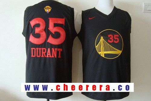 62e9288ba Men s Golden State Warriors  35 Kevin Durant Black With Red Fashion  Stitched Nike 2017 The NBA Finals Patch Jersey