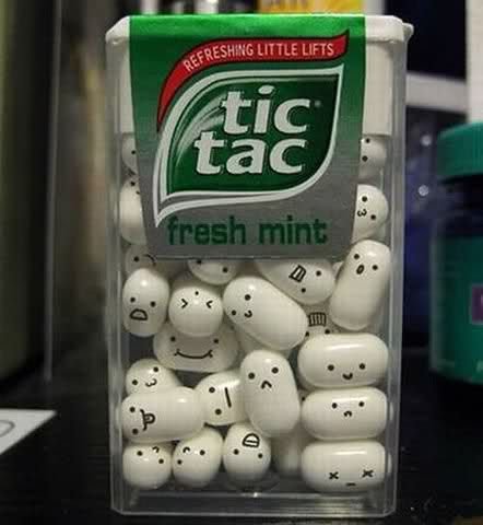 Kawaii tictac. All it takes is a food grade marking pen sold at most cake decorating stores.