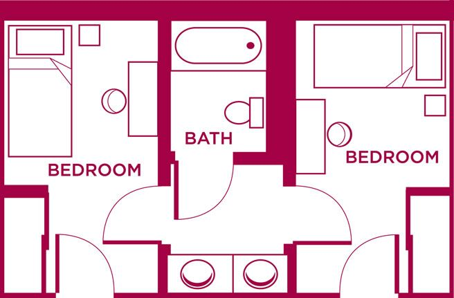 I love the concept of a divided bathroom. In this plan, your teenage daughter can be putting on her makeup while your son is in the shower. No more fighting over the bathroom!