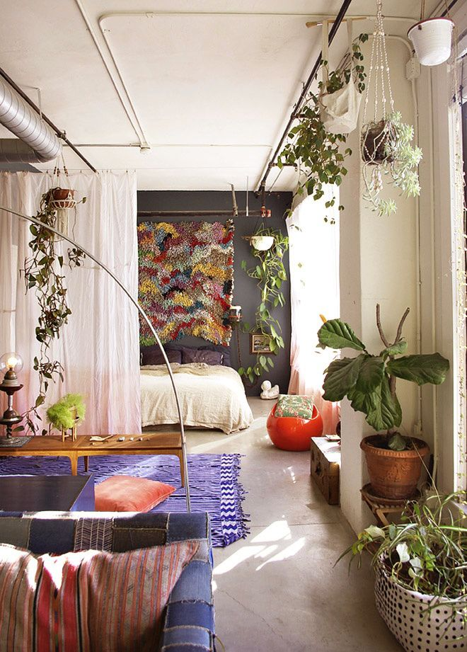Studio Apartment with bed behind the curtain. The curtain and plants make one large living space seem divided and homey.
