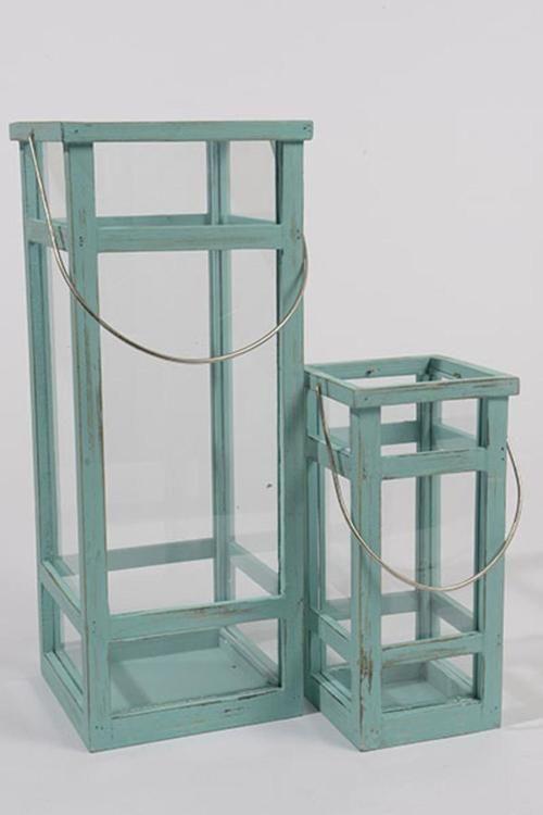 """Set of 2 L'Eau de Fleur Distressed Aqua Green Wooden Pillar Candle Lanterns 19.5"""""""""""