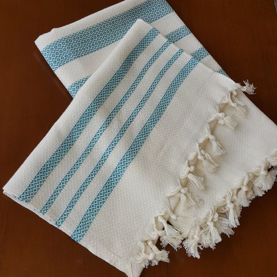 Check out this item in my Etsy shop https://www.etsy.com/listing/460712964/blue-striped-towel-set-decorative-bath