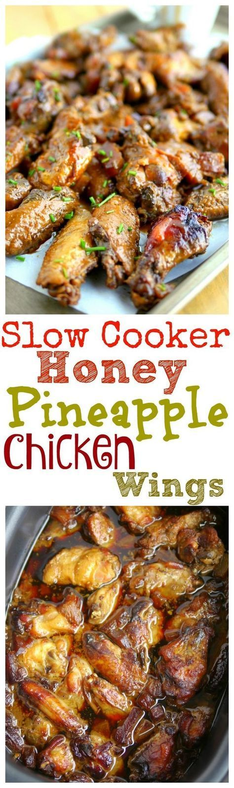 Slow Cooker Honey Pineapple Chicken Wings | Recipe
