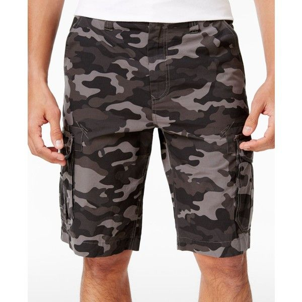 "Univibe Men's Peached Cargo 11.5"" inseam Shorts ($40) ❤ liked on Polyvore featuring men's fashion, men's clothing, men's shorts, gun camo, mens camo shorts, mens shorts, camouflage mens shorts, mens camo cargo shorts and men's apparel"