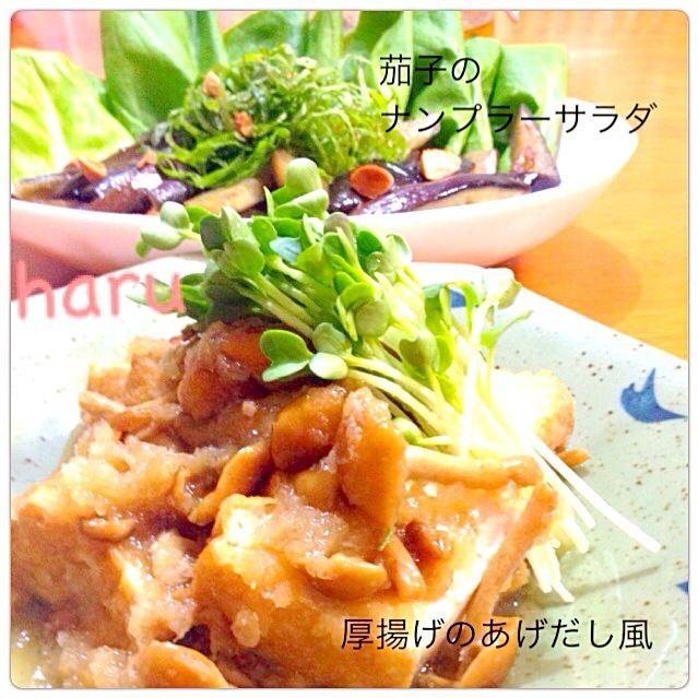 おはようございます(*^^*) こちらのお料理2日前のです♡  厚揚げの揚げ出し風は、 作るの2回目だもんね〜笑 茄子のナンプラーサラダは、 数え切れないほど食べてる〜笑 いつも、我が家の食卓に ともこさんの味付け、賑やかに してくれてますよ♡ ありがとう(#^.^#) - 231件のもぐもぐ - Tomoko Itoさんの料理 水いらずPart2☆厚揚げの揚げ出し風と、tomokoさんの茄子のナンプラーサラダ、同時つくフォト投稿です*\(^o^)/* by WAKUWAKU4724