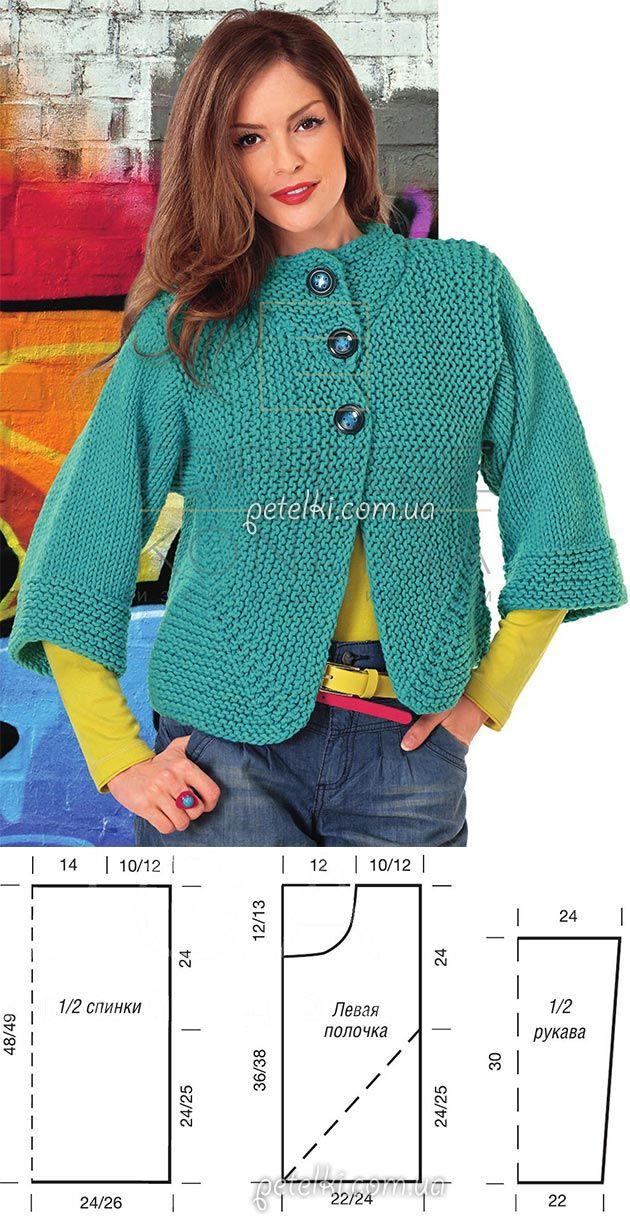 La chaqueta de azul turquí por los rayos para los principiantes. La descripción de la labor de punto, el patrón