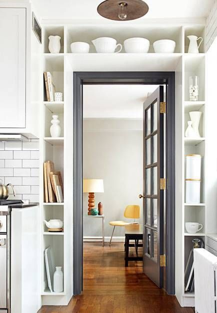 decorating small spaces kitchen storage around doorframe