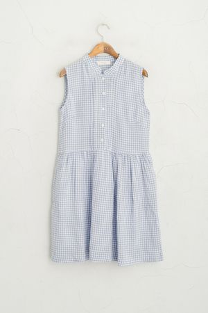 Gingham Check Button Down Dress, Blue