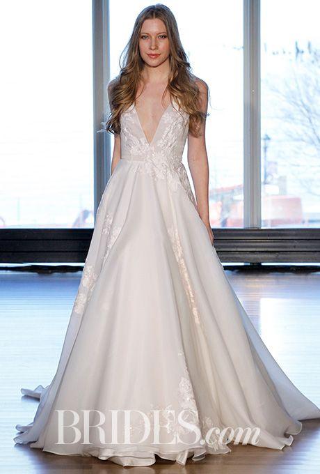 "Brides.com: . ""Berni"" satin organza V-neck voluminous A-line gown with petal color embroidered lace appliques, Alyne by Rita Vinieris - Spring 2017"