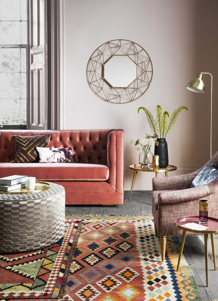James 2-Seater Sofa in Brick with Joan Armchair in Send Rioja, Isabella Ottoman in Blaise, Aries Mirror, Rochelle Side Tables, Desi Lamp, Esfir Rug, Nima Rug, Carlos Plate & selection of Vases