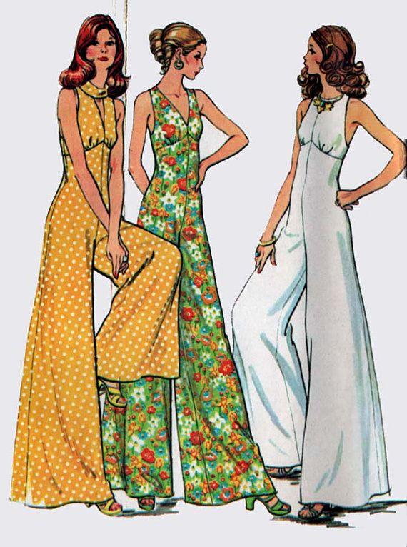 1970s Palazzo Wide Leg Jumpsuit 3 Necklines McCalls 3588 Vintage Retro 70s Sewing Pattern Size 11 BUst 34 UNCUT