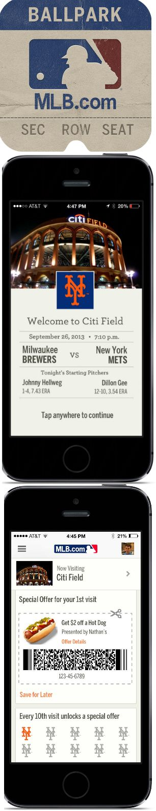 Major League Baseball, NY Mets :: iBeacon Campaign in 9/2013 :: Using the MLB mobile app, the NY Mets were one of the first brands to use iBeacons throughout the park to send fans push messages based on their proximity to locations. Fans received a welcome push message when they entered the park  a mobile coupon when they walked past vendors. They also used iBeacons to promote special locations like their trophy case. — Drew Beechler, Content Strategist, Salesforce ExactTarget Marketing…