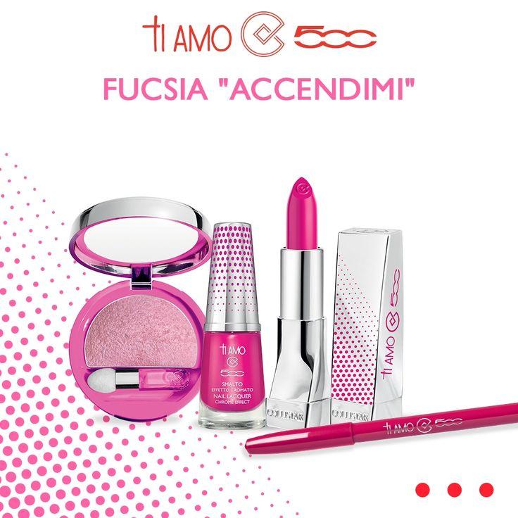 """Avete già provato il FUCSIA """"ACCENDIMI"""" della nuova Collezione #TiAmo500? Un colore pieno, super brillante e ricco di riflessi, perfetto per far splendere qualsiasi look!"""