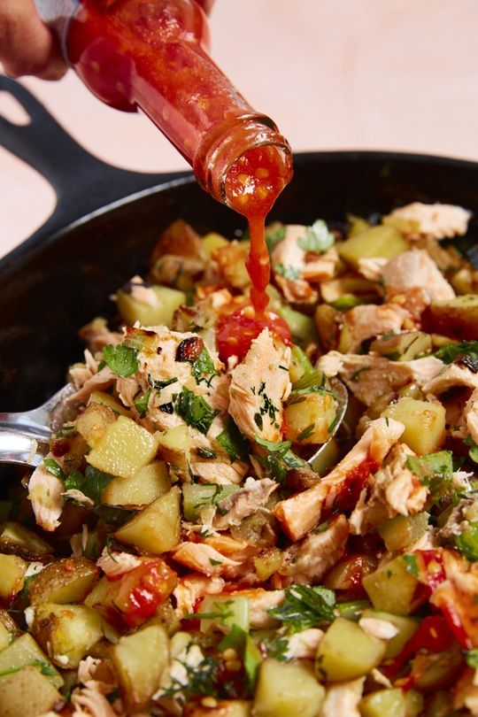 Salmon Hash with Yukon Gold Potatoes and Herbs. This loaded cast iron skillet recipe is a satisfying and unique choice for breakfast or dinner! Your family will LOVE this twist on corned beef hash! You'll need: butter, potatoes, onion, celery, dill, thyme,  (leftover) salmon, and hot sauce!