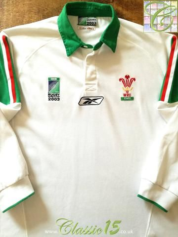 Official Reebok Wales away long sleeve rugby shirt from the 2003 World Cup. Complete with 2003 Rugby World Cup badge on the chest.