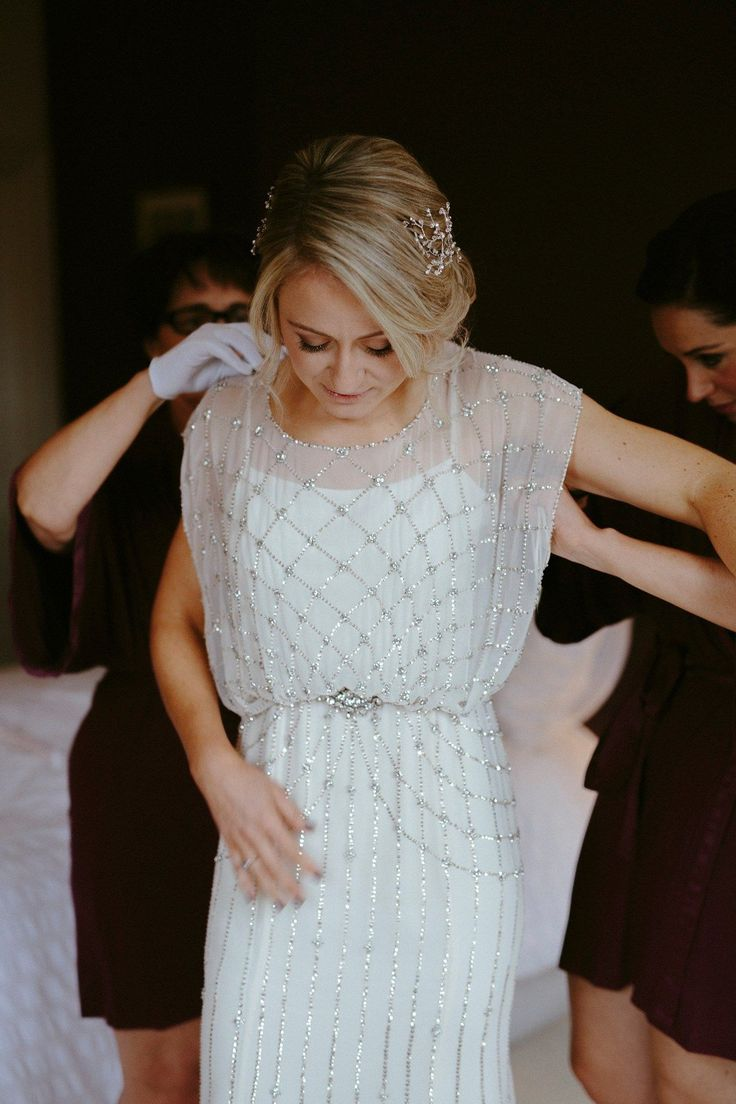 Bride wears Bardot by Jenny Packham for a 1920's Gatsby Glamour Inspired New Years Eve Wedding. Photography by Ruth Atkinson