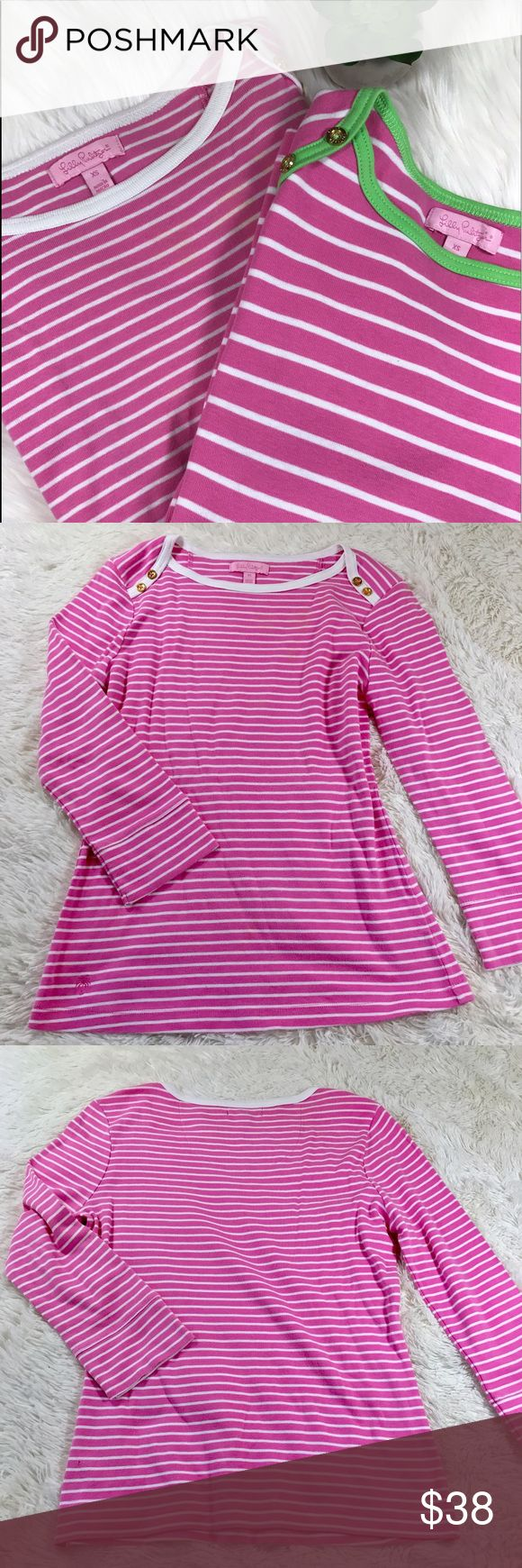 💓 2 in 1 Lilly Pulitzer long sleeve tees 💓 Adorable Lilly Pulitzer long sleeve tops with gold button detailing on the shoulders   💖 The first is baby pink and white striped and the second is baby pink and white striped with green detailing  💚 Both are XS 💖 Excellent condition   💚Price is firm💚 Lilly Pulitzer Tops Tees - Long Sleeve