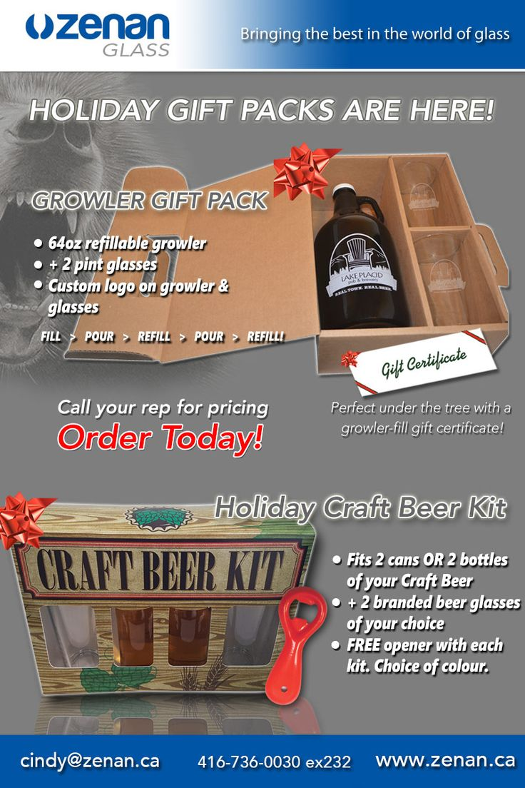 ZENAN HOLIDAY GIFT PACKS FOR BEER ARE HERE!  Your choice of a branded growler box gift set with pint glasses AND/OR a Craft beer kit with your choice of 2 bottles or 2 cans with 2 branded beer glasses of your choice! Check it out and call or email for pricing and to make an order.    cindy@zenan.ca