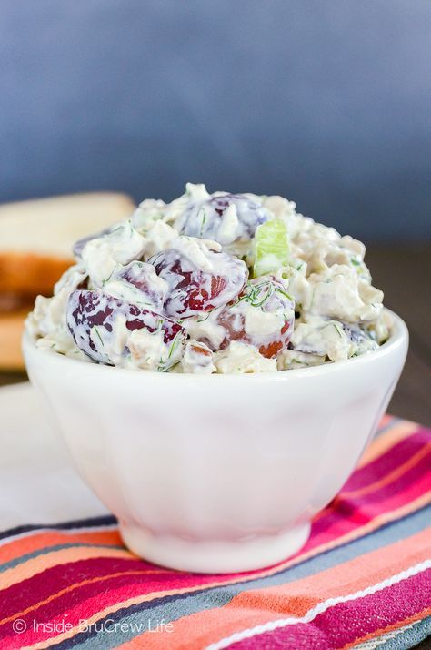 Grape Pecan Chicken Salad - the creamy dill flavor goes so well with the fruit and nuts. This is an easy recipe for parties or picnics.