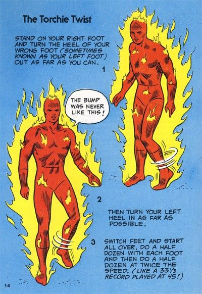 """""""The Torchie Twist"""" from The Mighty Marvel Comics Strength and Fitness Book"""