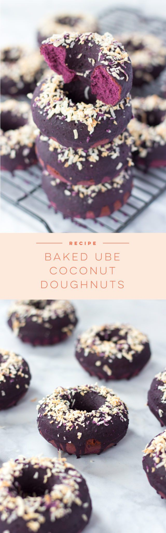 An easy recipe for easy and flavorful baked Ube Coconut Doughnuts. These naturally purple treats are perfect morning treats.
