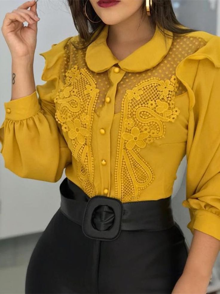 Leisure Stylish Patchwork Casual Shirt Peter Pan Collar Mesh Lace Insert Blouse