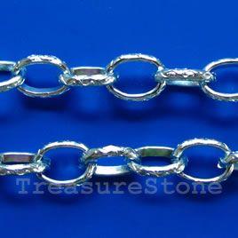 Chain, aluminum, aquamarine, 9x12mm curb