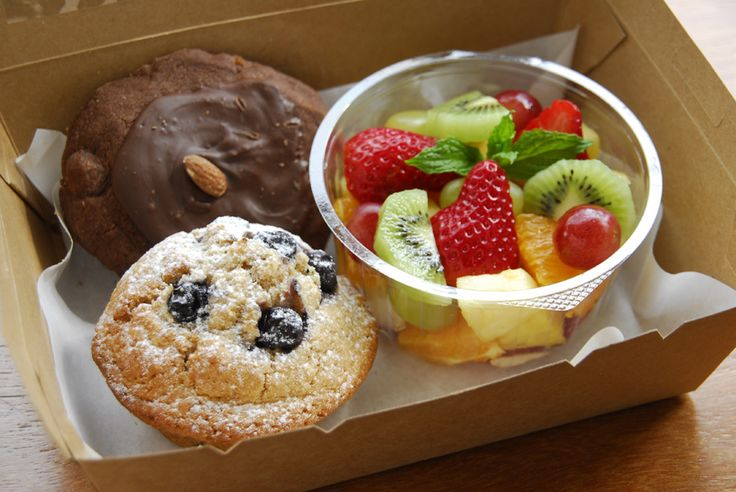 Breakfast Box  includes Muffin Afghan or Oats biscuit, Small Fruits Salad