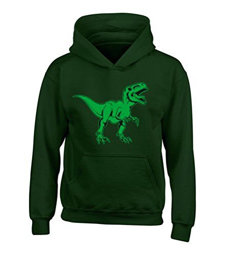 BOTTLE GREEN HOODIE 'T-REX IMAGE ONLY' with Green & black Print.