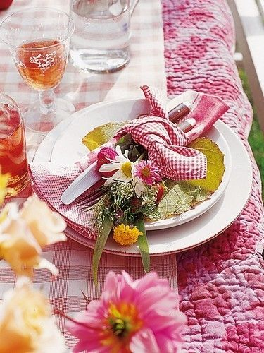 Springtime :)  Love Using Quilts as Tablecloth