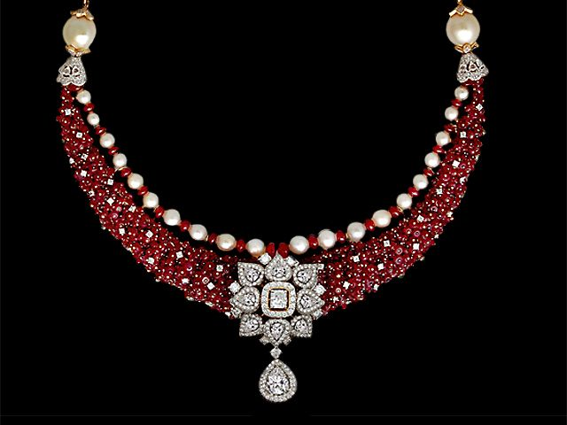 Ruby and diamond statement necklace. Bridal jewellery.