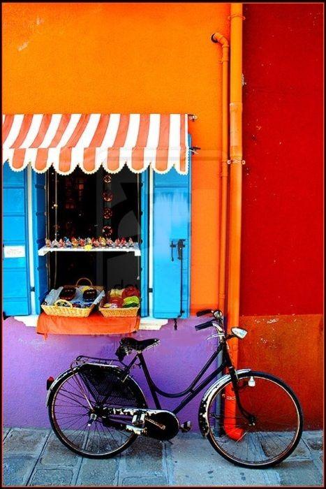 ♥: Colors Combos, Blue Shutters, Bike, Colors Wall, Blue Doors, Bold Colors, Colour Burst, Bright Colors, Paintings Colour