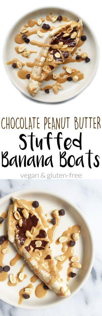 Chocolate Peanut Butter Stuffed Baked Banana Boats