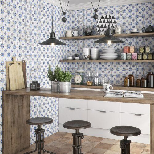 Rioja 13 X Ceramic Field Tile In Blue Cream