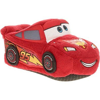 Amazoncom Disney Cars 3D Embroidered Lightning McQueen Boys Slippers  Shoes